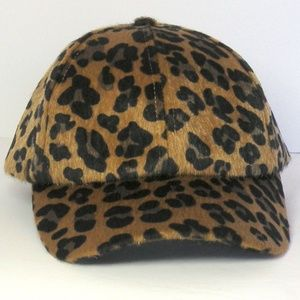 H&M  FAUX FUR HAIR LEOPARD PRINT Baseball HAT sz L